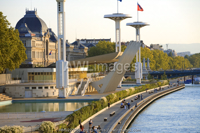 France, Rhone, Lyon, Quai Claude Bernard, The Rhone River Swimming pool