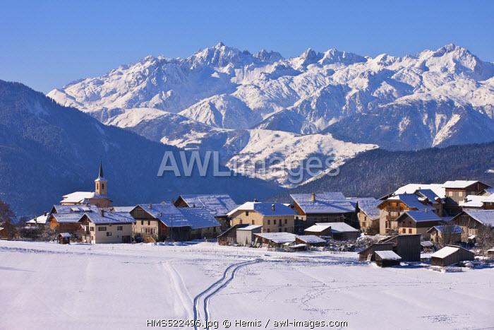 France, Savoie, Notre Dame du Pre, Massif de la Vanoise, Tarentaise Valley, view of the Massif de la Lauziere