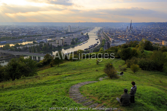 France, Seine Maritime, Rouen, view over the Seine and the city center