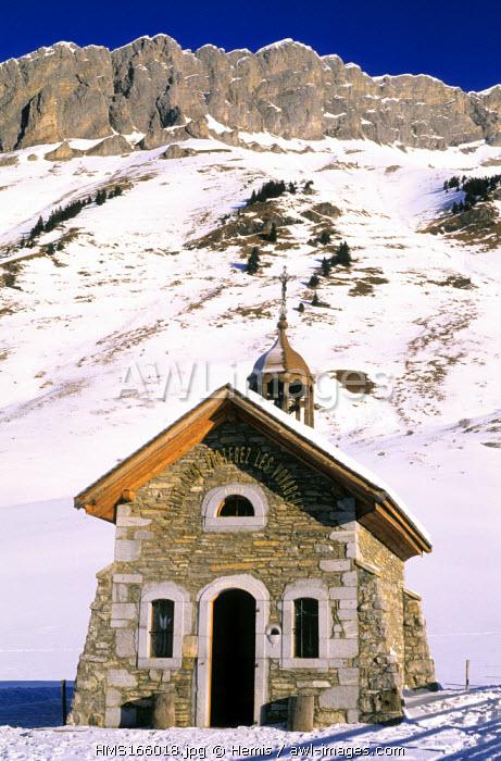 France, Haute Savoie, Aravis massif, chapel Sainte Anne at the Aravis pass (1498m)