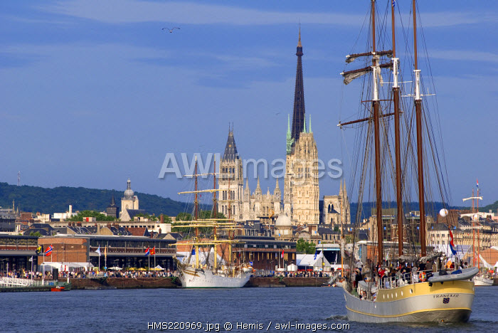 France, Seine Maritime, Rouen, Armada 2008, arrival of the sailboats into the harbour