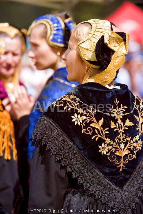 France, Savoie, Peisey Nancroix, Costume and Mountain festival, costumed woman