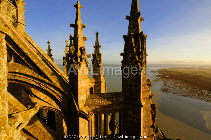 France, Manche, the abbey of Mont Saint Michel, listed as World Heritage by UNESCO, the Church and the bay