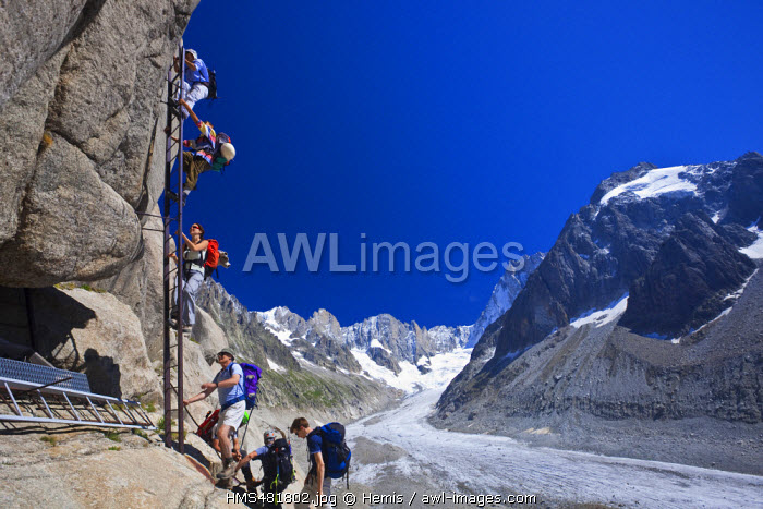 France, Haute Savoie, Chamonix Mont Blanc, the scales of Egralets to reach Couvercle refuge with a view on the Petites and Grandes Jorasses