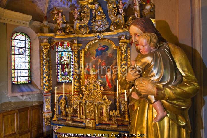 France, Savoie, Hauteluce, Les Chemins du Baroque (the paths of Baroque), Hauteluce church, altarpiece