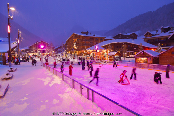 France, Haute Savoie, Morzine, Aulps valley, the city center and the ice rink in Place Baraty