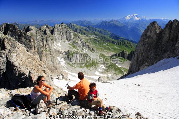 France, Savoie, La Lauziere Mountain, Celliers Glacier, Mont Blanc in the Background