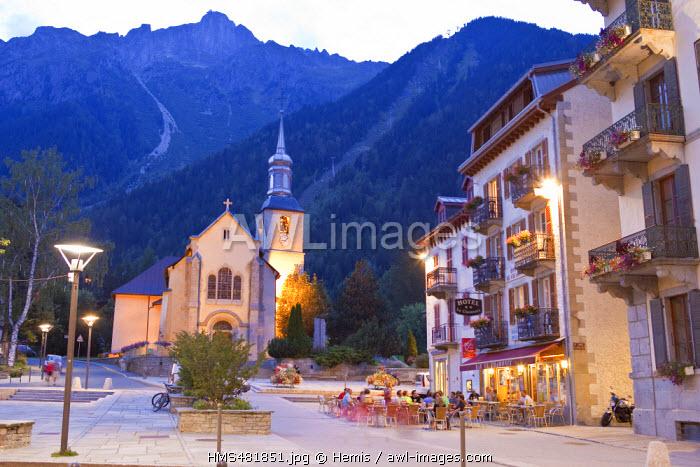France, Haute Savoie, Chamonix Mont Blanc, St Michel church, the cabins of Planpraz and the Brevent (2526m), Massif des Aiguilles Rouges
