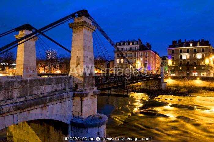 France, Isere, Grenoble, Saint Laurent bridge over the river Isere