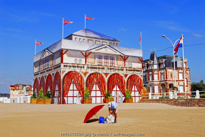 France, Calvados, Villers sur Mer, Beach and casino in trompe l'�il Painting