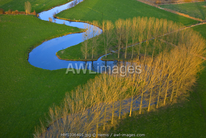 France, Eure, Chateau sur Epte, meanders of Epte River (aerial view)