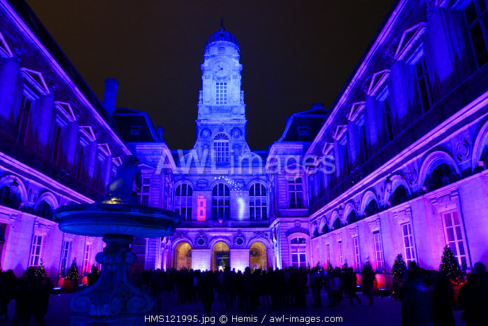 France, Rhone, Lyon, Town hall during the Lights festival