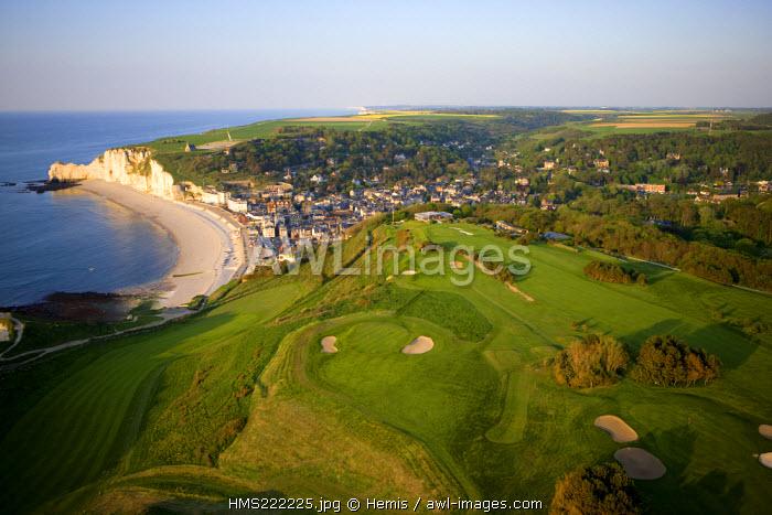 France, Seine Maritime, Pays de Caux, Cote d'Albatre, Etretat, the golf course (aerial view)