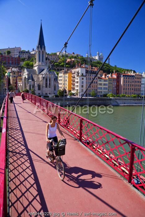 France, Rhone, Lyon, St Georges footbridge on Saone river