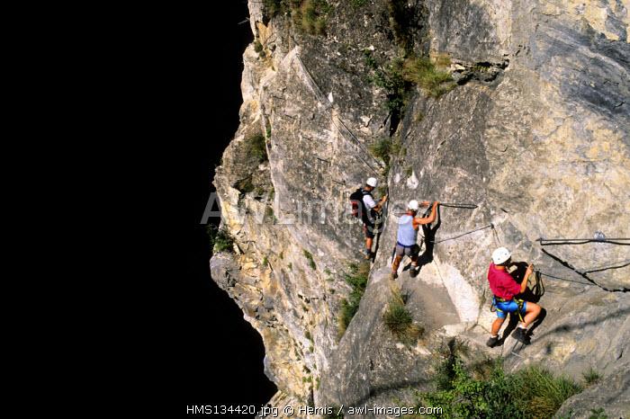 France, Savoie, Haute Maurienne valley, Aussois, devil's via ferrata