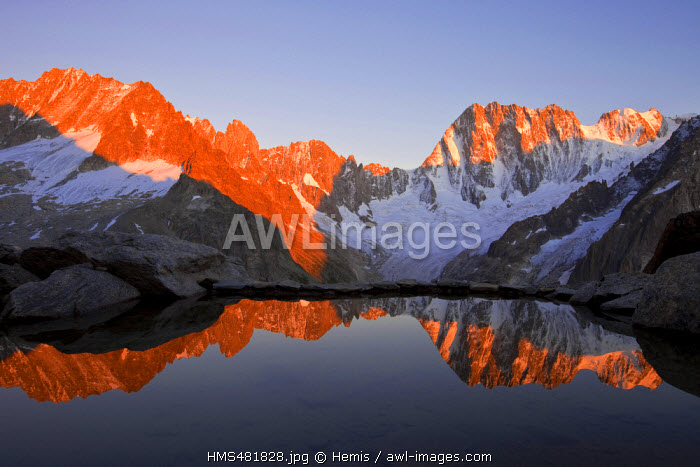 France, Haute Savoie, Chamonix Mont Blanc, Michel Tavernier lake with the reflection of Grandes Jorasses