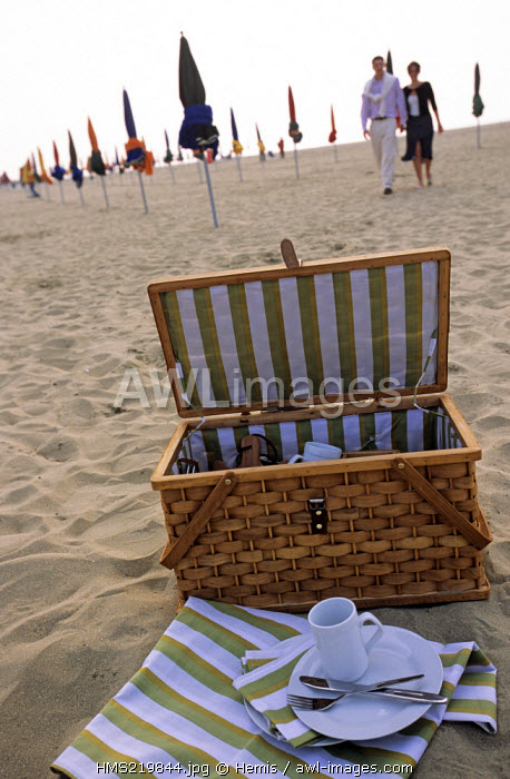 France, Calvados, Pays d'Auge, Deauville, picnic on the beach