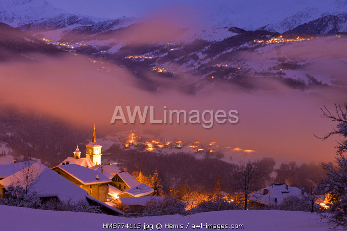 France, Savoie, Aigueblanche, the hamlet of Villargerel, Tarentaise valley, Massif de la Vanoise with a view of the ski resorts Valmorel and Combelouviere on right