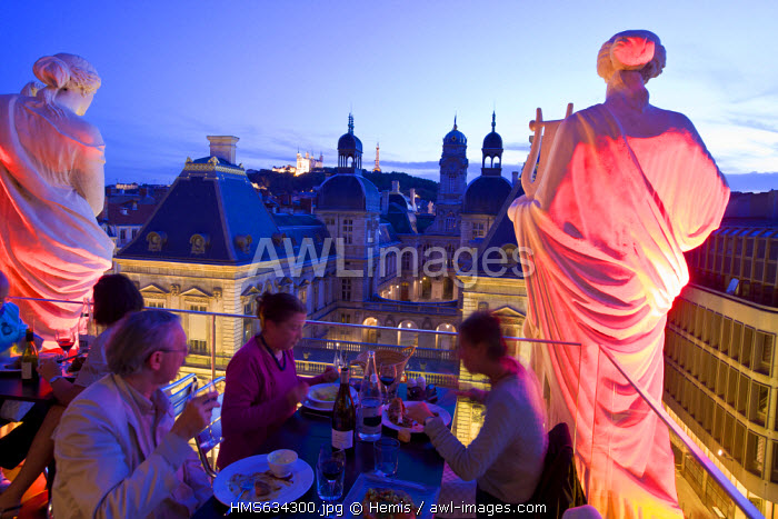France, Rhone, Lyon, historical site listed as World Heritage by UNESCO, the main courtyard of the Town Hall and Notre Dame de Fourviere Basilica seen from Les Muses de l'Opera Restaurant and the Opera house