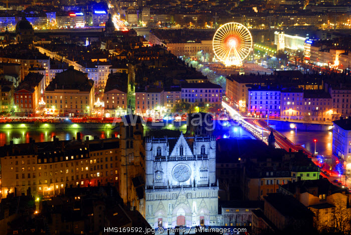 France, Rhone, Lyon, la Fete des Lumieres (Lights festival) of 2006, Saint Jean cathedral in foreground