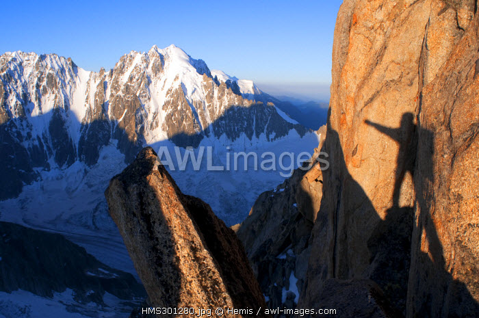 France, Haute Savoie, Mont Blanc Massif, Aiguille du Chardonnet, ascent by Forbes Ridge in the sunrise, panorama to the Aiguille Verte (4121m)