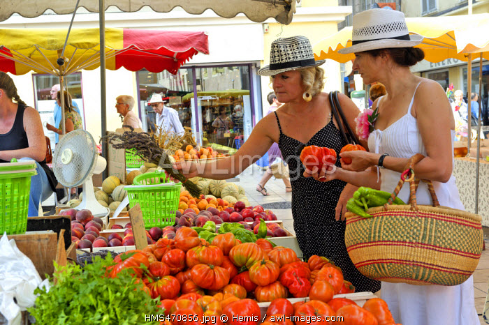 France, Drome, Montelimar, Market Square, girlfriends shopping at a fruit stand and vegetables
