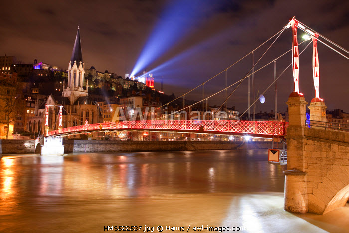 France, Rhone, Lyon, historical site listed as World Heritage by UNESCO, footbridge and St Georges Church over Saone river and Notre Dame de Fourviere Basilica during the Fete des Lumieres (Light Festival)