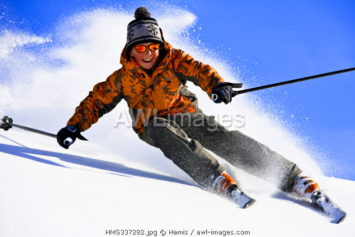 France, Savoie, Trois Vallees ski area, Meribel, skiing on powder snow