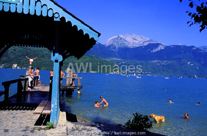 France, Haute Savoie, Saint Jorioz, Annecy lake in the summer