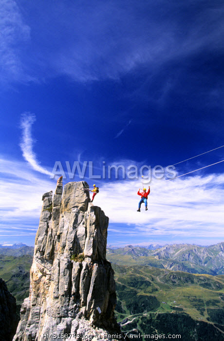 France, Savoie, Meribel, Via Ferrata, Dent de Burgin