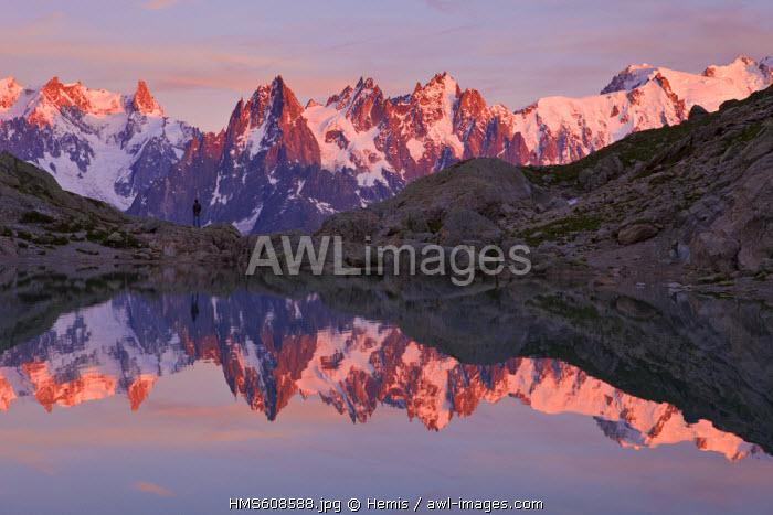 France, Haute Savoie, Chamonix Mont Blanc, lac Blanc (2352m) in the Reserve Naturelle Nationale des Aiguilles Rouges (Aiguilles Rouges National Nature Reserve) with a view on the Aiguilles de Chamonix