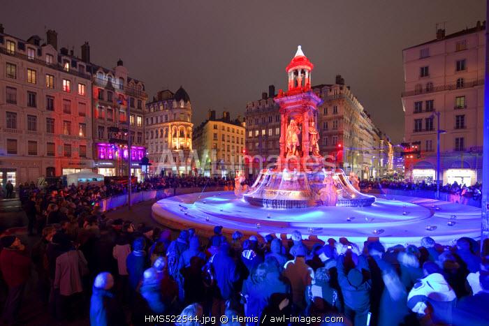 France, Rhone, Lyon, historical site listed as World Heritage by UNESCO, the Fete des Lumieres (Light Festival), La Source de Lumiere by Fabrice Oudin on Place des Jacobins