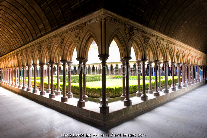 France, Manche, Mont Saint Michel, listed as World Heritage by UNESCO, abbey, cloister