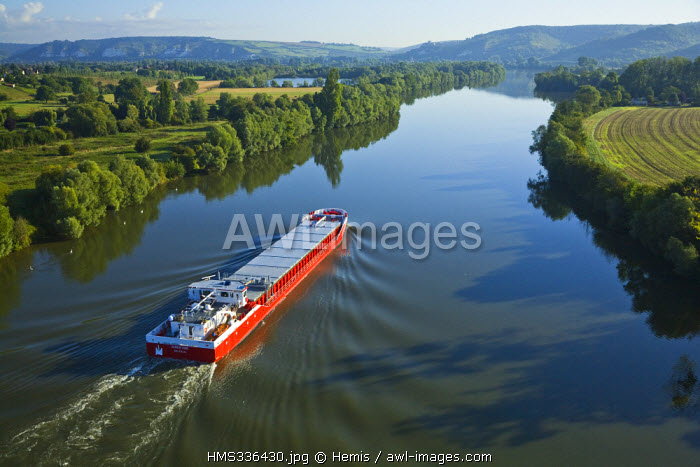 France, Eure, Les Andelys, Le Christine Boat on Seine River (aerial view)