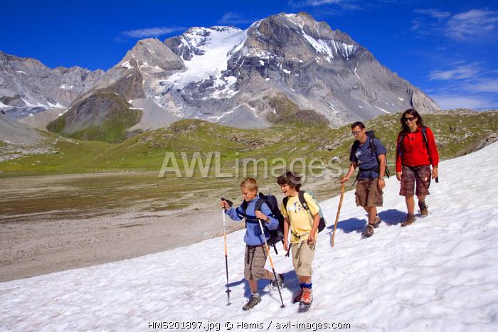 France, Savoie, Pralognan la Vanoise, the Grande Casse (3855m) from the Lac des Assiettes, hikers (MR ok)