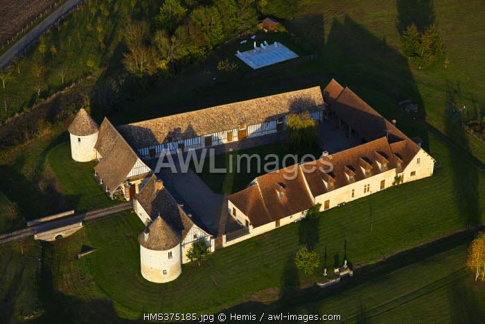 France, Eure, La Croix Saint Leufroy, old manor (aerial view)