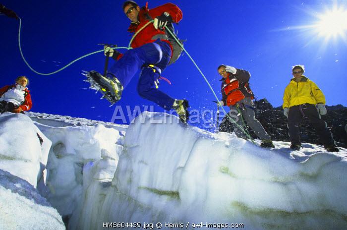 France, Savoie, Val Thorens, hiking on the Glacier de Chaviere, Massif de la Vanoise, Tarentaise Valley