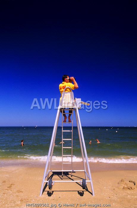 France, Calvados, Houlgate Beach, Lifeguard