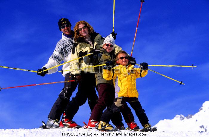 France, Savoie, skiing in Valmorel