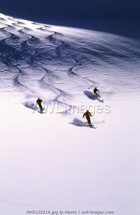 France, Savoie, High Tarentaise valley, downhill ski from the Ruitor glacier