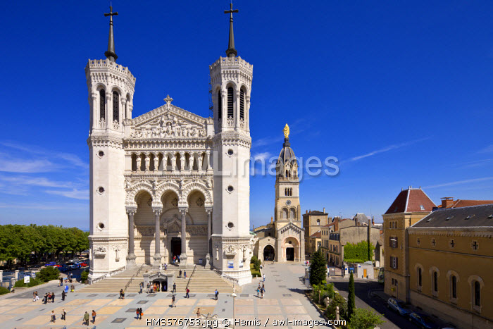 France, Rhone, Lyon, historical site listed as World Heritage by UNESCO, Notre Dame de Fourviere Basilica and the chapel of the Vierge Noire surmounted by the Vierge Doree (Golden Virgin)