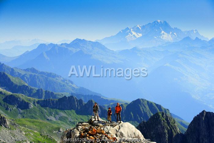 France, Savoie, Mont Blanc from La Lauziere mountain