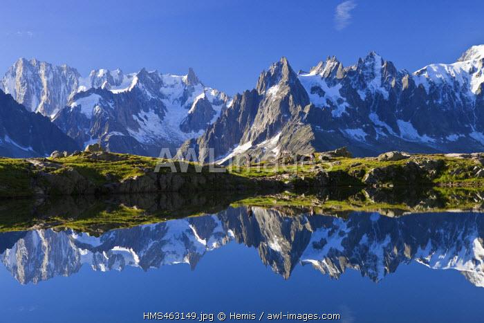 France, Haute Savoie, Chamonix Mont Blanc, lac des Cheserys in the Reserve naturelle nationale des Aiguilles Rouges (Aiguilles Rouges National Nature Reserve) with a view on the Aiguilles of Chamonix