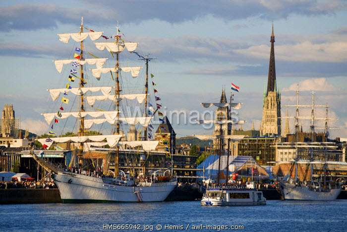 France, Seine Maritime, Rouen, Armada 2008, tall ships moored up in the docks of the Seine River and Rouen Cathedral in the backgroung