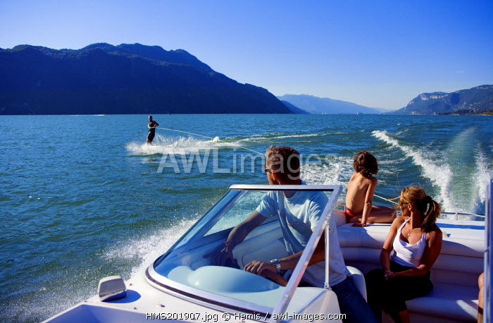 France, Savoie, Aix les Bains, the Lac du Bourget (Bourget Lake), water skiing