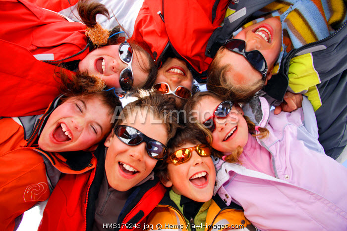 France, Savoie, Meribel, Group of Children