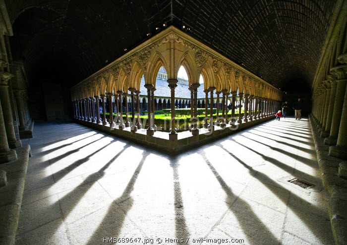 France, Manche, Bay of Mont Saint Michel, listed as World Heritage by UNESCO, Mont Saint Michel, the abbey cloister inside La Merveille building
