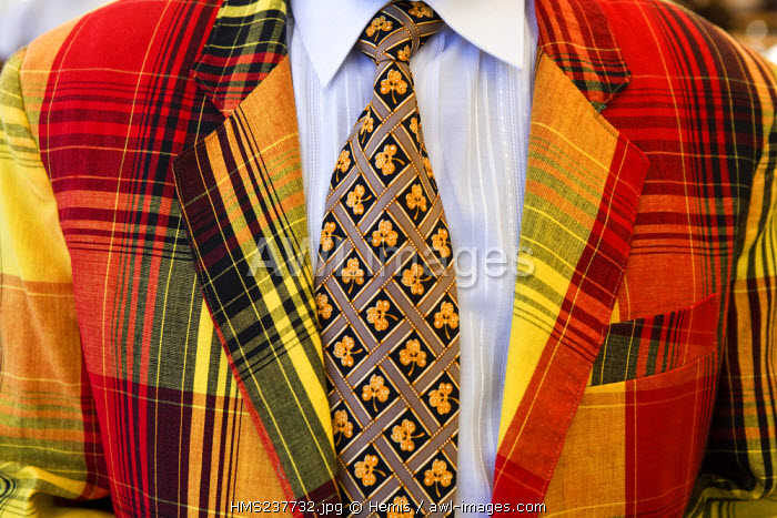 French West Indies, Martinique, Saint Pierre, close up of a suit in madras (traditional and local cloth)