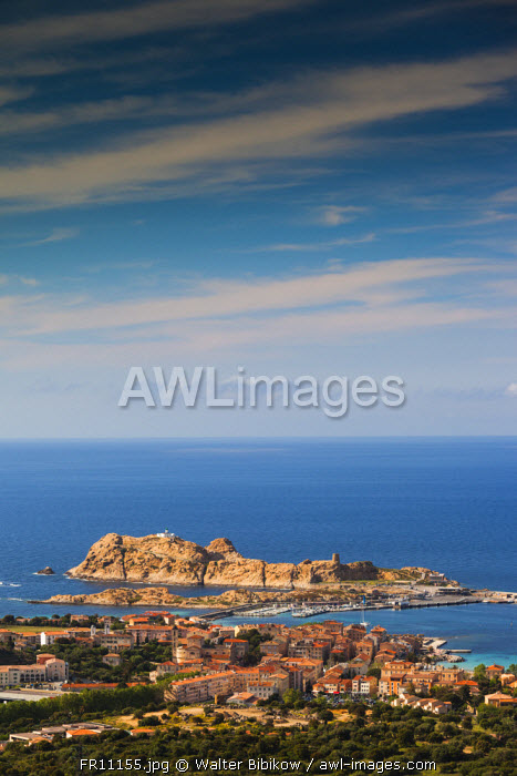 awl-images.com - France / France, Corsica, Haute-Corse Department, La Balagne Region, Ile Rousse, elevated view of city and Ile de la Pietra
