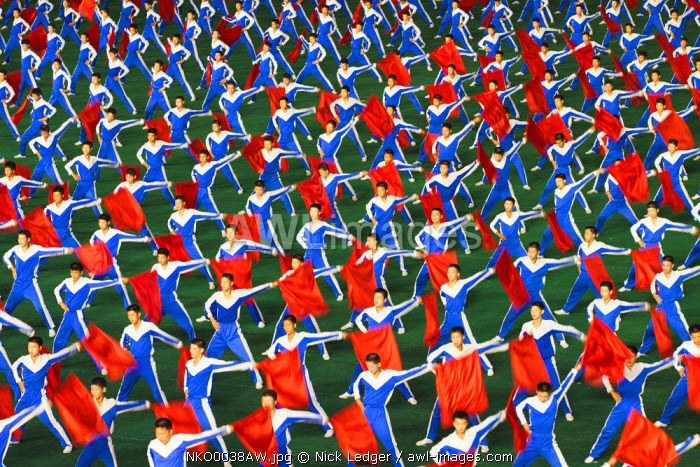 Democratic People's Republic of Korea, North Korea, Pyongyang. Performers at the Arirang Mass Games.